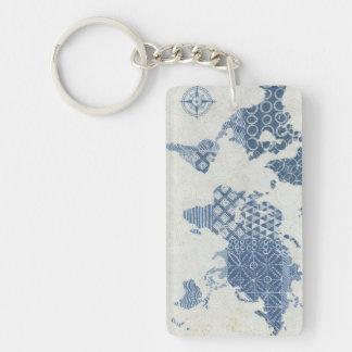 Indigo Blue Batik Map of the World Keychain