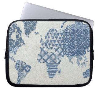 Indigo Blue Batik Map of the World Laptop Sleeve