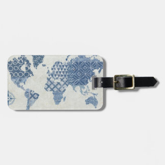 Indigo Blue Batik Map of the World Luggage Tag