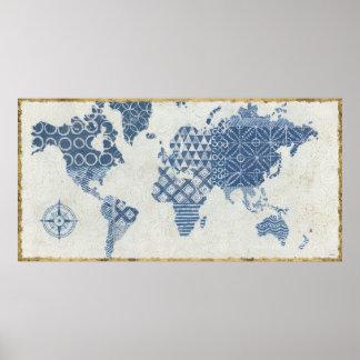 Indigo Blue Batik Map of the World Poster