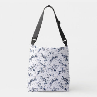 Indigo Blue Clematis Floral Pattern Crossbody Bag