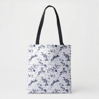 Indigo Blue Clematis Floral Pattern Tote Bag