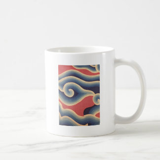 Indigo Blue Coral Japanese Wave Coffee Mug