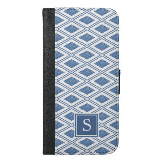 Indigo Blue Diamond Pattern Monogram iPhone 6/6s Plus Wallet Case
