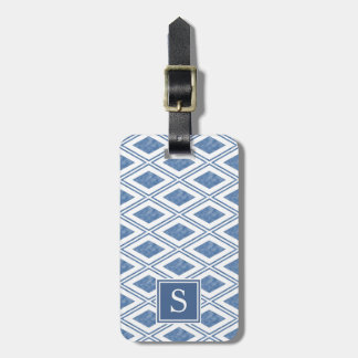 Indigo Blue Diamond Pattern Monogram Luggage Tag