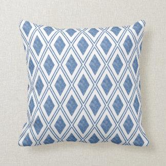 Indigo Blue Diamond Pattern Throw Pillow