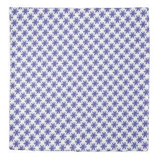 Indigo blue dotted stars on white duvet cover