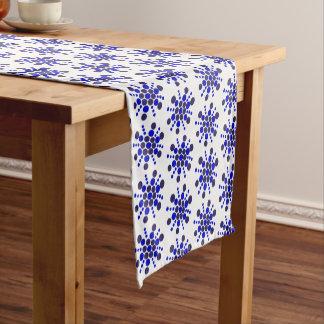 Indigo blue dotted stars on white short table runner