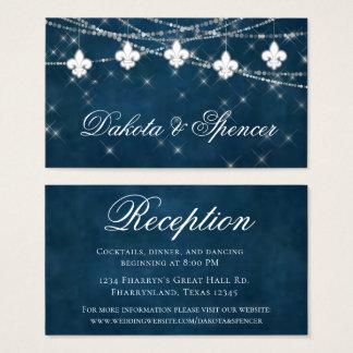 Indigo Blue Fleur de Lis Light | Wedding Reception Business Card