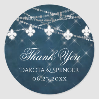 Indigo Blue Fleur de Lis Light | Wedding Thank You Classic Round Sticker