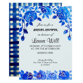 Indigo Blue Floral Bridal Shower Card