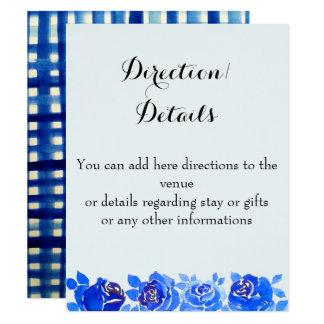 Indigo Blue Floral Details Invitation Card