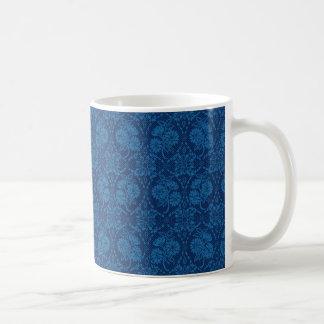 Indigo Blue Floral Faux Lace Pattern Coffee Mug