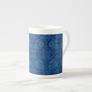 Indigo Blue Floral Faux Lace Pattern Tea Cup