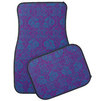 Indigo Blue Floral Faux Lace Pattern to Customize Car Mat
