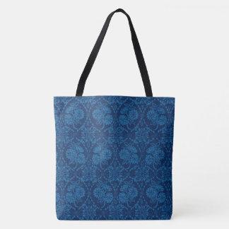 Indigo Blue Floral Faux Lace Pattern Tote Bag