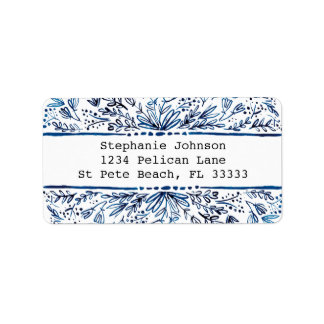 Indigo Blue Floral Return Address Label