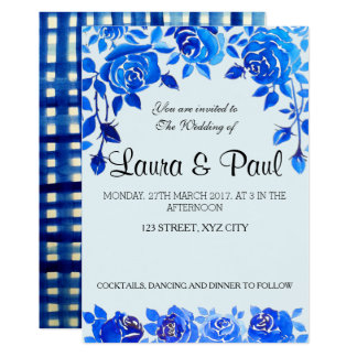 Indigo Blue Floral Wedding Card