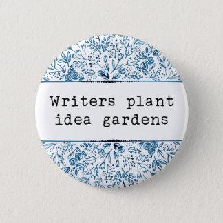 Indigo Blue Floral | Writers Plant Idea Gardens 2 Inch Round Button