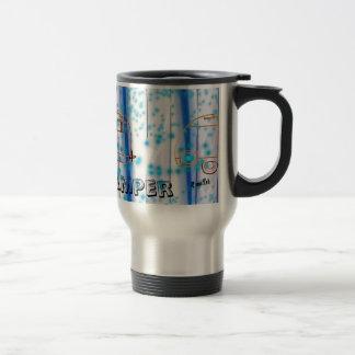 Indigo blue forest happy camper mug