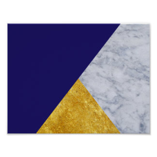Indigo Blue Gold and Marble Basic Poster