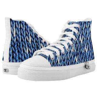 Indigo Blue Knit High Top