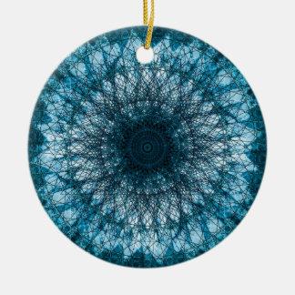 Indigo Blue Mandala Ceramic Ornament