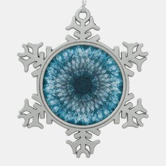 Indigo Blue Mandala Snowflake Pewter Christmas Ornament