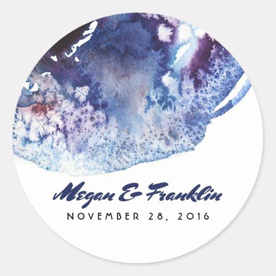 Indigo Blue Modern Watercolor Crystals Wedding Classic Round Sticker