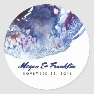Indigo Blue Modern Watercolor Crystals Wedding Round Sticker