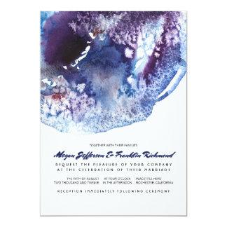 Indigo Blue Modern Watercolor Wedding Card