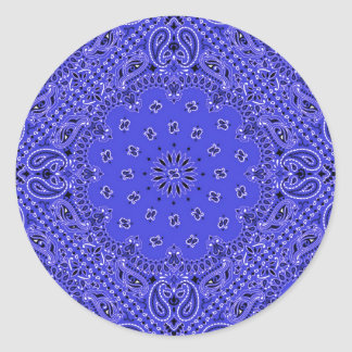 Indigo Blue Paisley Western Bandana Scarf Print Classic Round Sticker
