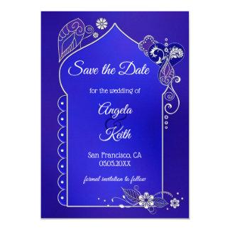 Indigo Blue Purple Henna Save the Date Card