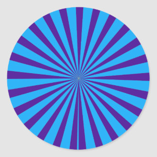 Indigo Blue Purple Starburst Sun Rays Tunnel View Classic Round Sticker