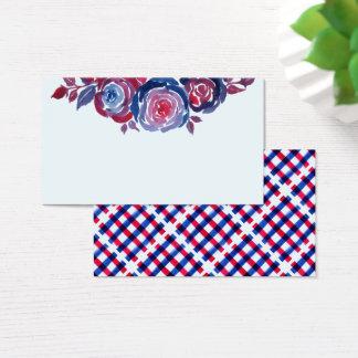 Indigo Blue & Red ink Floral Business Card