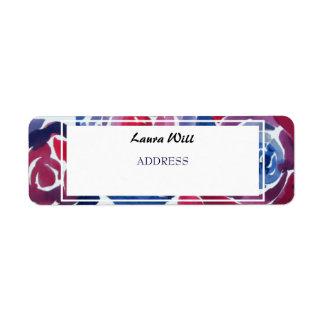 Indigo Blue & Red ink Floral Return Address Labels