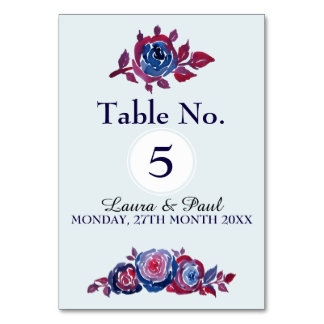 Indigo Blue & Red ink Floral Table Card