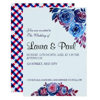 Indigo Blue & Red ink Floral Wedding Card