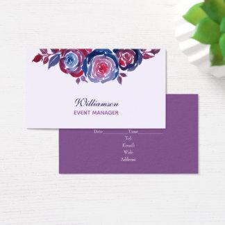 Indigo Blue Red Purple Floral Business Card