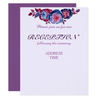 Indigo Blue Red Purple Floral Reception/Direction Card