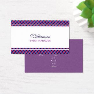 Indigo Blue Red Purple Plaid Business Card