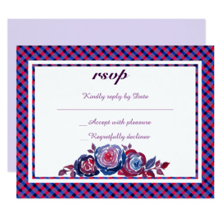Indigo Blue & Red Purple Plaid Floral RSVP Card