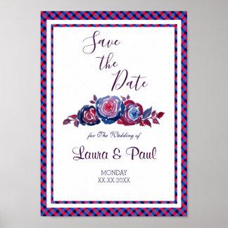 Indigo Blue Red Purple Plaid Floral Wedding Poster