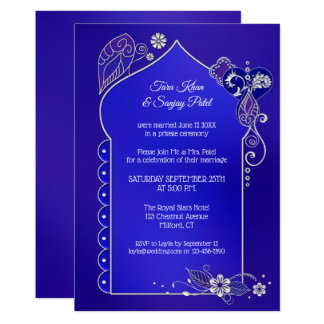 Indigo Blue Silver Henna After Wedding Invitation