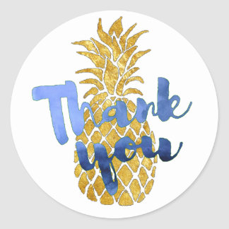 indigo blue thank you on gold pineapple round sticker