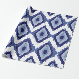 Indigo Blue Tribal Ikat Diamond White Chevron