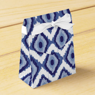 Indigo Blue Tribal Ikat Diamond White Chevron Favor Box