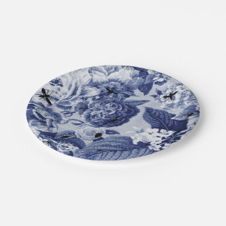Indigo Blue Vintage Botanical & Bugs Floral Toile 7 Inch Paper Plate