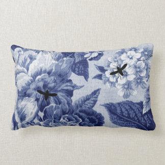 Indigo Blue Vintage Botanical & Bugs Floral Toile Lumbar Pillow