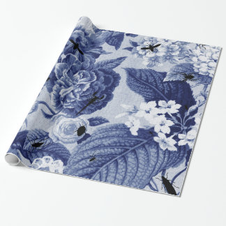 Indigo Blue Vintage Botanical Floral Toile & Bees Wrapping Paper